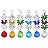 H&D 6pcs Crystal Chandelier Parts Crystal Ball Prisms Hanging Suncatcher Handcrafts Christmas Glass Ornaments