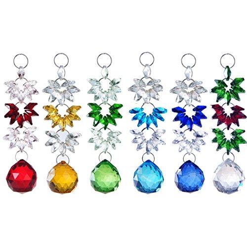 H&D 6pcs Crystal Chandelier Parts Crystal Ball Prisms Hanging Suncatcher Handcrafts Christmas Glass Ornaments