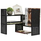 Modern Adjustable Metal Perforated Matte Black Desktop Storage Bookcase Display Shelves