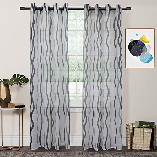 FY FIBER HOUSE Decoration Sheer Voile Window Curtains with Ring Top for Bed Room, 2 Panels,54 by 95-Inch, Ombre Grey