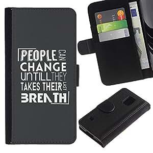 Billetera de Cuero Caso Titular de la tarjeta Carcasa Funda para Samsung Galaxy S5 V SM-G900 / People Change Message / STRONG