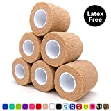 Cohesive Bandage 2' x 5 Yards, 6 Rolls, Self Adherent Wrap Medical Tape, Adhesive Flexible Breathable First Aid Gauze Ideal for Stretch Athletic, Ankle Sprains & Swelling, Sports, Tan