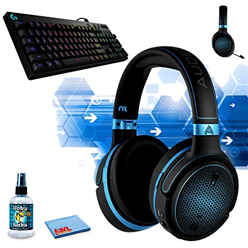 Audeze Mobius Planar Magnetic Gaming Headset (Blue), G810 Orion Spectrum RGB Mechanical Gaming Keyboard - Easy-Access Media Control, Backlit Multicolor LED and Headphone Cleaning Kit
