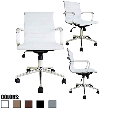 2xhome Mid Century Office Chair with Arms Wheels Modern Desk Chair  Ergonomic Executive Chair Mid Back PU Leather Arm Rest Tilt Adjustable  Height ...