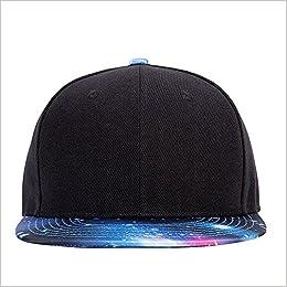 9691d1f9e62 Amazon.com: Galaxy Snapback Unisex Hat Hip Hop Plaid Flat Brim Adjustable  Baseball Cap Black Blue (0744430141437): Books