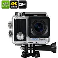 Ultra-HD 4K Action Camera - 4x Zoom, IP68 Waterproof, 170 Degree Viewing Angle, 1/2-Inch CMOS, 2-Inch Display, Wi-Fi (Silver)