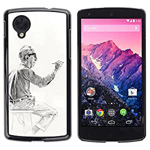 FlareStar Colour Printing Artist Painter Man Painting Drawing cáscara Funda Case Caso de plástico para LG Google NEXUS 5 / E980 /D820 / D821