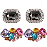 kilofly 2 Pairs Elegant Rhinestone Crystal Metal Shoe Clips Wedding Party Pack
