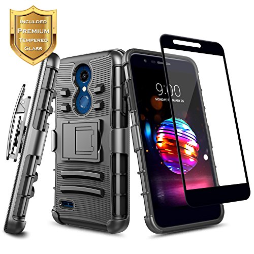 LG K30 Case, LG K10 2018, LG Premier Pro Case w/[Full Coverage Tempered Glass Screen Protector],NageBee [Heavy Duty] Armor Shock Proof [Belt Clip Holster Kickstand] Combo Case For LG K30 (X410) -Black
