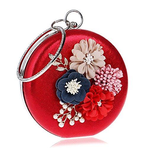 formale che poliuretano formale tutte in Borsa per matrimonio blue fiori eventi sera e strass di il stagioni TUTU per con borda feste rosso petalo per il Ufficio carriera da le wI1xq4R0