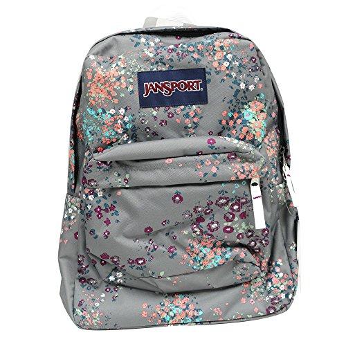 JanSport Backpack Multi Tone SUPERBREAK, SUPER FX, California Bear Various Style! Bag_Style: SHADY GREY SPRINKLED FLORAL (Jansport Big Bear)