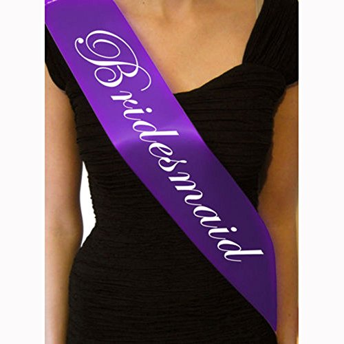 Sash Medium (TXIN Purple Bachelorette Sash for Hen Party Bridal Shower-Bachelorette Sash, Wedding Party Favors Accessories Decorations (Bridesmaid))