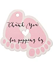 Summer-Ray 50pcs Baby Feet Baby Shower Favor Thank You Tags Thank You for Popping By (Pink)