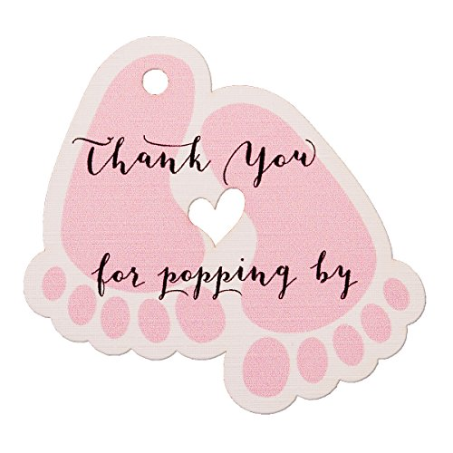 Summer-Ray 50pcs Pink Baby Feet Baby Shower Favor Thank You Tags Thank You for Popping - About Favor