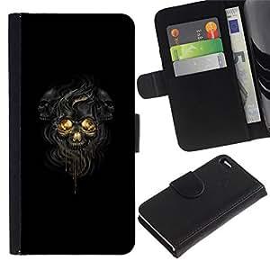 All Phone Most Case / Oferta Especial Cáscara Funda de cuero Monedero Cubierta de proteccion Caso / Wallet Case for Apple Iphone 4 / 4S // Black Dark Skulls