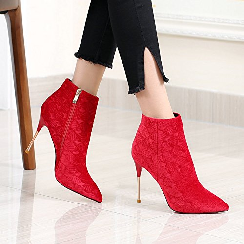 KPHY red Velvet Shoes Plaid Wedding Fine 36 Heeled Short Boots Fashion Boots Red Short Sleeve Martin Heel Pointed Winter Girl qqHFxdr
