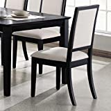 Louise Upholstered Dining Side Chairs Black and Cream (Set of 2) For Sale