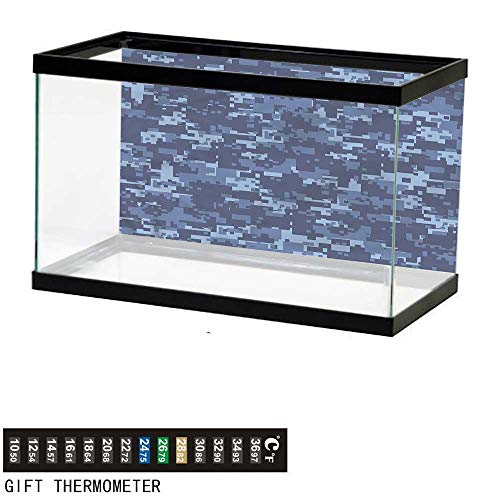 bybyhome Fish Tank Backdrop Camo,Militaristic Digital Camo,Aquarium Background,48