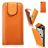Real Quality Iphone 5C Orange Flip Leather Wallet Case Cover For Apple iPhone 5C by TB1 Products ®