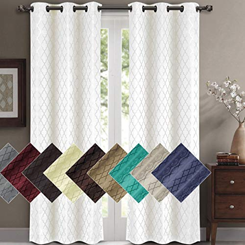 Willow Jacquard White Grommet Blackout Window Curtain Panels