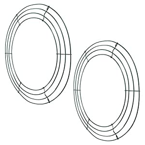 BBTO 2 Pack Metal Wire Wreath Frame 14 Inch Deep Green Wire Rings St Patrick's Day Christmas Holidays Floral Arrangements Home Party Decorations 72
