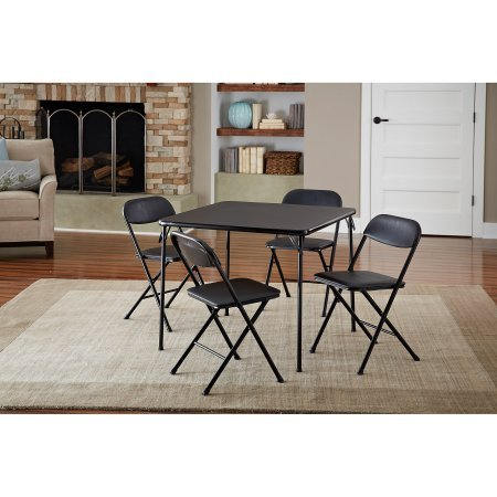 - Cosco 5-Piece Card Table Set, Black