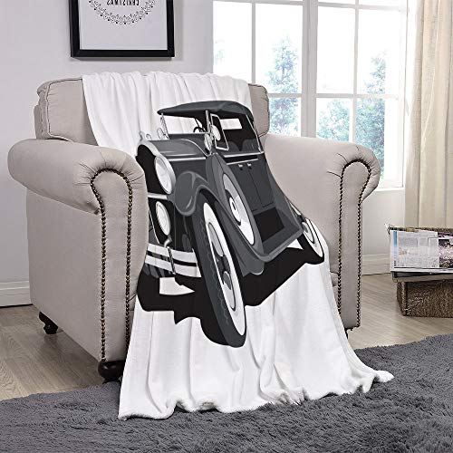 YOLIYANA Light Weight Fleece Throw Blanket/Cars,Old Timer American Black Car Classical Urban Travel Nostalgic Revival Engine,Black Grey White/for Couch Bed Sofa for Adults Teen Girls Boys