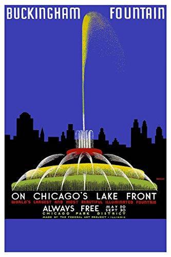 Laminated Chicago Buckingham Fountain Vintage Travel Art Print Sign Poster 12x18 ()