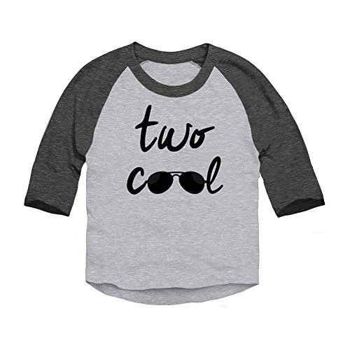 Trunk Candy Two Cool Toddler 2 Year Birthday 3/4 Sleeve Raglan Baseball T-Shirt (Heather / Smoke, 2T)