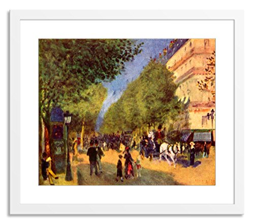 Gallery Direct 'The Grands Boulevards by Pierre-Auguste Renoir' Artwork on Paper with White, Clean and Simple Frame, 47