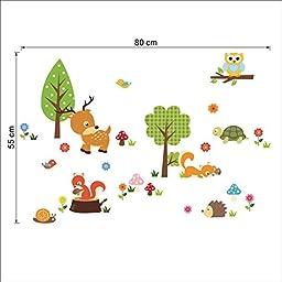 DOOXOO Forest Animals Wall decal Children Wall Art Decal Tree Tops Woodland Critters Nursery Baby Playroom Kids Vinyl Wall Decal Wall Sticker (1223)