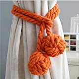 QIQIHOME 1 Pair American Hand Knitting Curtain Rope Tiebacks Rural Cotton Tie (Orangedouble)