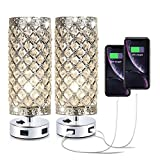 Pack of 2 Surpars House Crystal Table Lamp with Double USB Charging Port, On/Off Switch on Base,Bedside Lamp Nightstand Lamp for Bedroom, Living Room