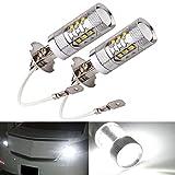 2Pcs H3 80W Bright LED White Fog Tail Turn DRL Head Car Light Lamp Bulbs