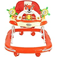 Goyal's Baby Musical Walker - Foldable & Height Adjustable - Red (Made in India)