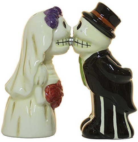 (Ganz Skeleton Bride and Groom Magnetic Ceramic Salt and Pepper)