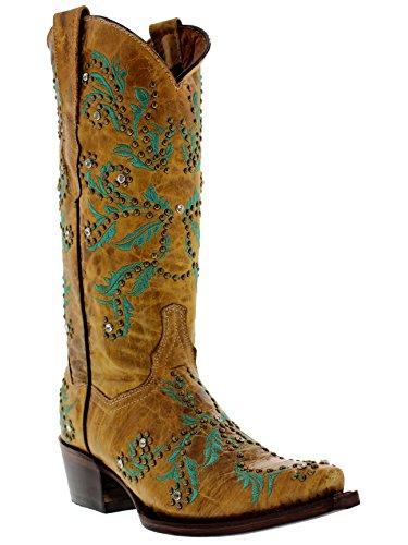 Stivali Da Cowboy In Pelle Ricamati In Pelle Marrone Da Donna Professionale Da Cowboy