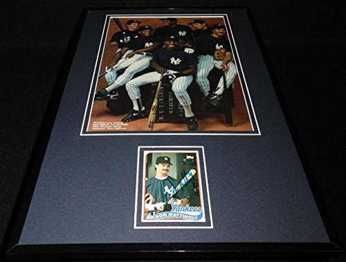 Signed Don Mattingly Photograph - Framed 12x18 Display w 1986 - Autographed MLB -