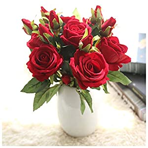 Naiflowers Artificial Flower,1PC Artificial Fake Rose Floral DIY Bridal Bouquets Real Looking Silk Flower with Plastic Stem for Home Wedding Party Decoration (B) 1