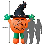 Holidayana Halloween Inflatable Giant 10 Ft Pumpkin Man Featuring Lighted Interior / Airblown Inflatable Decoration With Built In Fan And Anchor Ropes