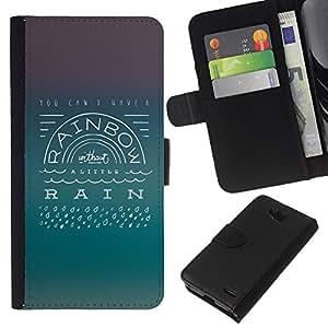 All Phone Most Case / Oferta Especial Cáscara Funda de cuero Monedero Cubierta de proteccion Caso / Wallet Case for LG OPTIMUS L90 // Rainbow Rain Positive Attitude Quote Life