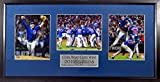 """Chicago Cubs 2016 World Series Champions 8x10 Photo Triple Display (w/ """"Cubs Win! Cubs Win!"""" Plate) Framed"""