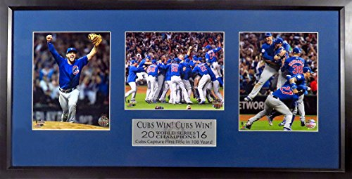 "Chicago Cubs 2016 World Series Champions 8x10 Photo Triple Display (w/ ""Cubs Win! Cubs Win!"" Plate) Framed"