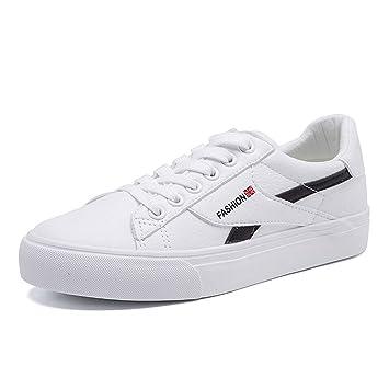 SHI Zapatillas Blancas de otoño Otoño Elegante con Cordones Planos Zapatos Casuales Zapatos Individuales de Mujer Estilo Universitario: Amazon.es: Hogar