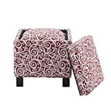 Shelley Square Storage Ottoman with Pillows Dark Red See Below