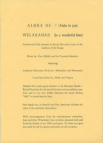 Northwood Club Royal Hawaiian Luau Menu Dallas Texas 1961]()