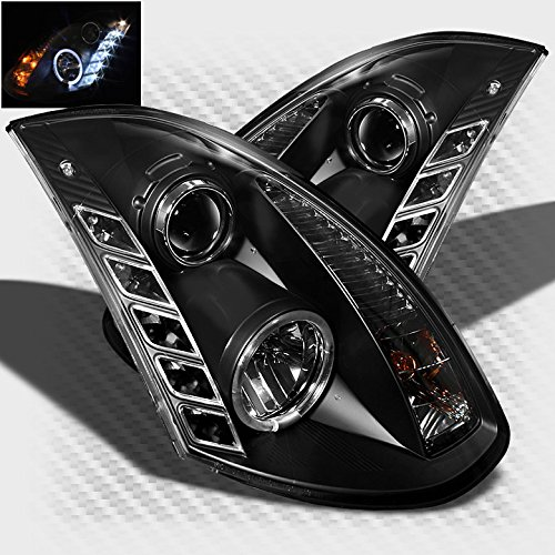 Xtune 2003-2007 Infiniti G35 2 Door Halo LED Projector Headlights Black Head Lights Pair Left+Right 2004 2005 2006