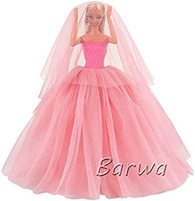 918c10c15347ac ... BARWA Pink Wedding Dress with Veil Evening Party Princess Pink Gown  Dress for 11.5 inch Girl ...