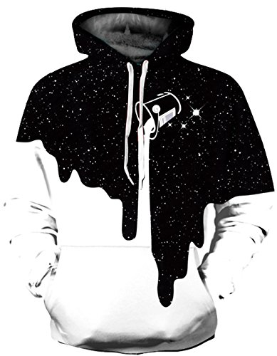 (SAINDERMIRA Unisex Fashion 3D Digital Galaxy Pullover Hoodie Hooded Sweatshirt Athletic Casual with Pockets(Starry Painting, XXL/XXXL))