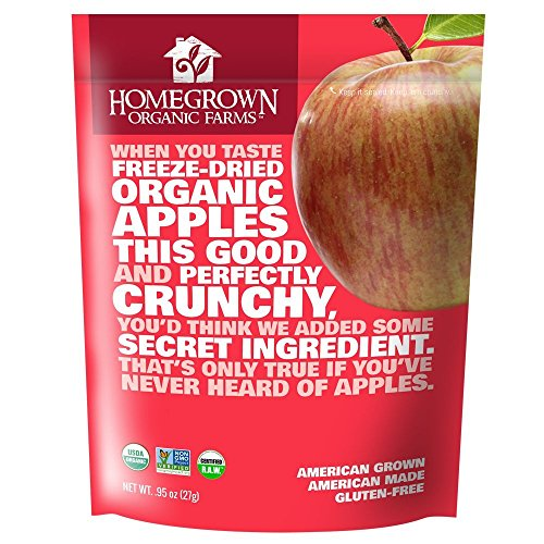 Freeze Dried Apple Snacks by Homegrown Organic Farms - Organic Non-GMO Freeze-Dried Apple Chips - All-Natural Vegan Freeze Dried Fruit (Apple, 03 Bags)
